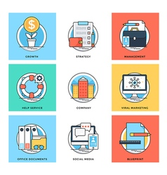 Flat Color Line Design Concepts Icons 10 vector image