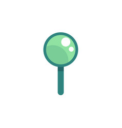 flat magnifying glass green icon vector image