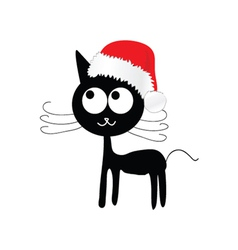 funny and cute cat with red christmas hat vector image