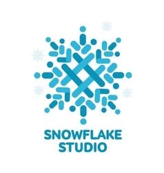 geometrical abstract snowflake logo vector image