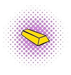 Gold bar icon comics style vector