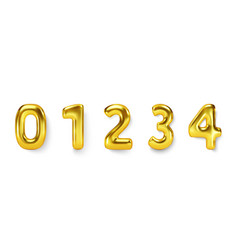 gold number balloons set realistic vector image