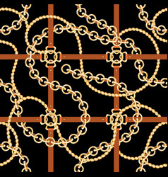 Golden chains and belts seamless pattern baroque vector
