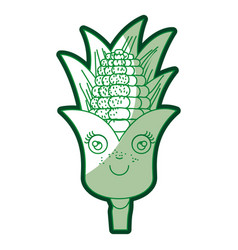 Green silhouette of corn cob caricature with vector