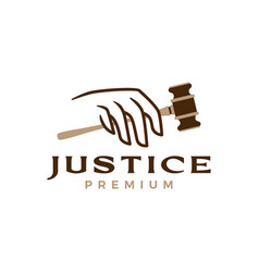 Hand hold justice hammer law logo icon vector