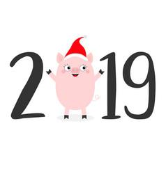 happy new year 2019 text cute bapig in santa vector image