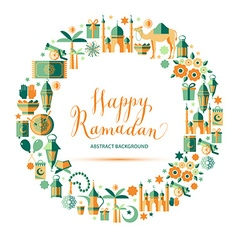 Happy Ramadan icons set vector image