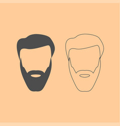 head with beard and hair dark grey set icon vector image