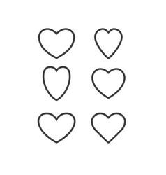 Hearts temp stroke set vector