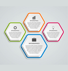 Hexagon options infographics template vector