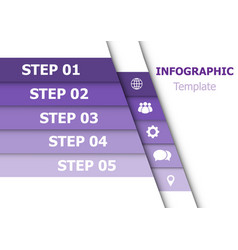 Infographic design template with 5 purple vector