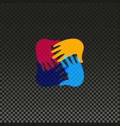 Isolated hands logo orphanage emblem vector
