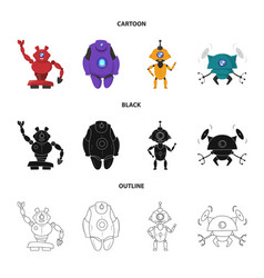 Isolated object of robot and factory symbol set vector