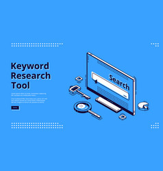 Keyword research tool isometric landing page vector