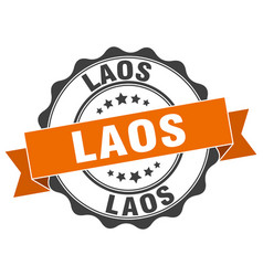 Laos round ribbon seal vector