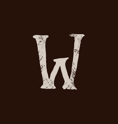 Letter w handwritten by dry brush rough strokes vector