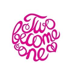 Lettering element in pink color for wedding design vector