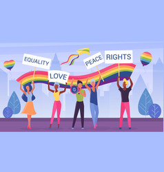 lgbt pride march parade vector image