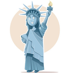 liberty statue caricature celebrating vector image