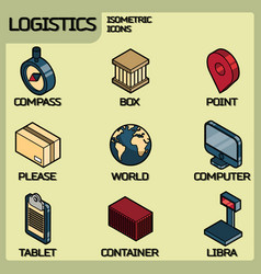 logistics color outline isometric icons vector image
