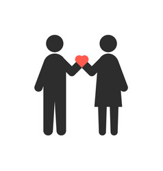 loving couple with heart in crossed hands vector image