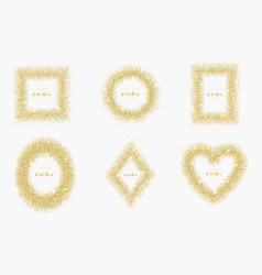 Luxury gold glitter frame set vector