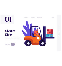 Man collector cleaning trash to rubbish car vector