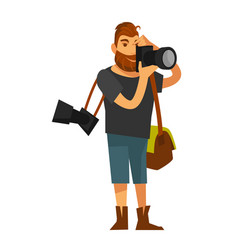 Man takes photo by camera near eye isolated on vector