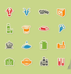 Milk industry icons vector