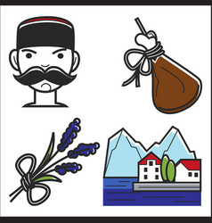 montenegro culture sightseeing landmarks and vector image