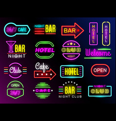 neon glow hotel night advertising retro vector image