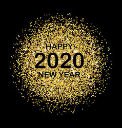 new year card for 2020 with gold dust on black vector image