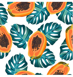 papaya fruits seamless pattern on white vector image