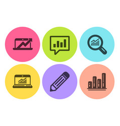 Pencil analytical chat and data analysis icons vector