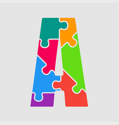 Puzzle jigsaw letter - a puzzle pieces vector