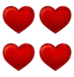 Red hearts 3d simple icon made with meshes vector image