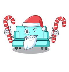 Santa with candy sofa mascot cartoon style vector