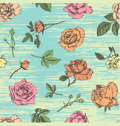 Seamless pattern with roses vintage design vector