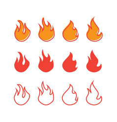 set fire icon design template isolated vector image