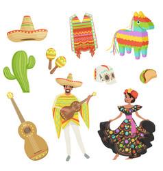 set of cultural symbols mexico sombrero cactus vector image