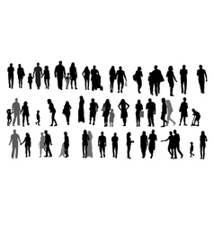 Set silhouette walking people and children vector
