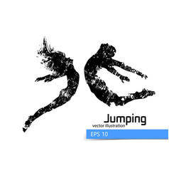 Silhouette of a jumping man and girl vector