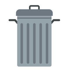 Steel bin icon isolated vector