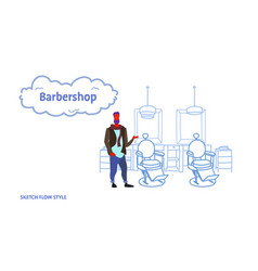 stylish barber standing near retro style haircut vector image