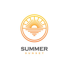 Sun and sea linear logo vector
