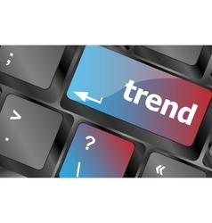 Trend button on computer keyboard business vector