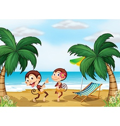Two monkeys wearing a hawaiian attire vector