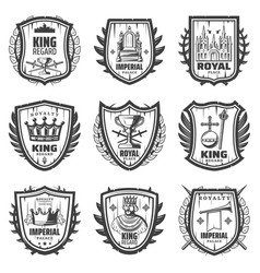 vintage royal coat arms set vector image