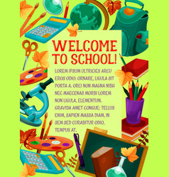 Welcome to school banner for greeting card design vector