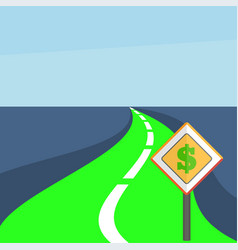 Winding road with a dollar sign vector